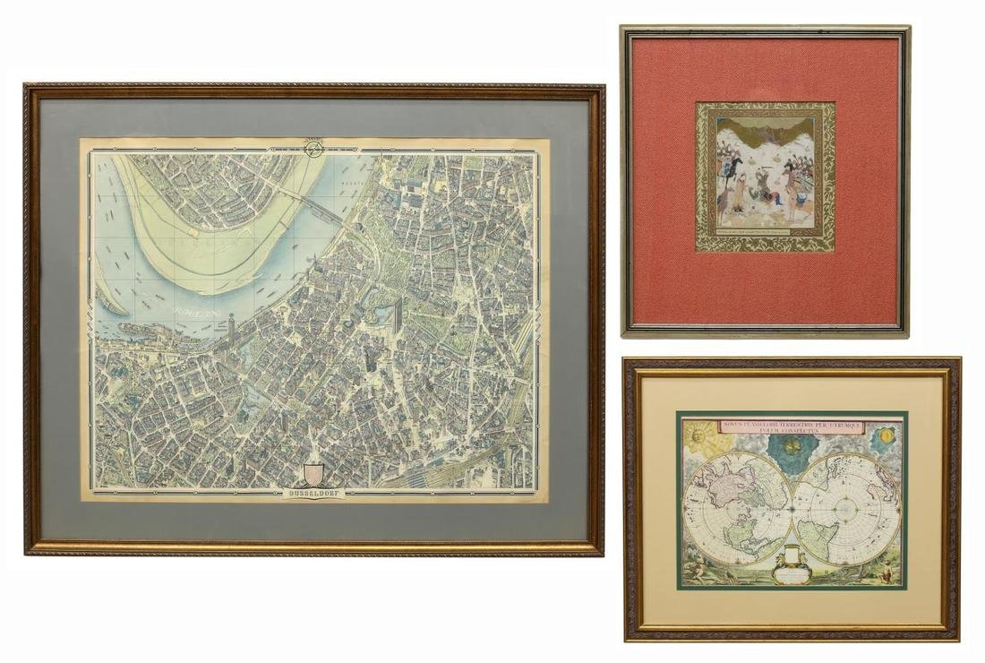 (3) FRAMED COLOR PRINTS, PERSIAN SCENE AND MAPS