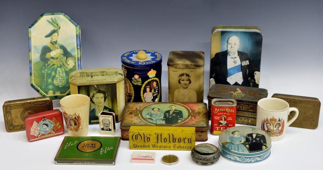(19) ENGLISH COMMEMORATIVE TINS & SOUVENIRS