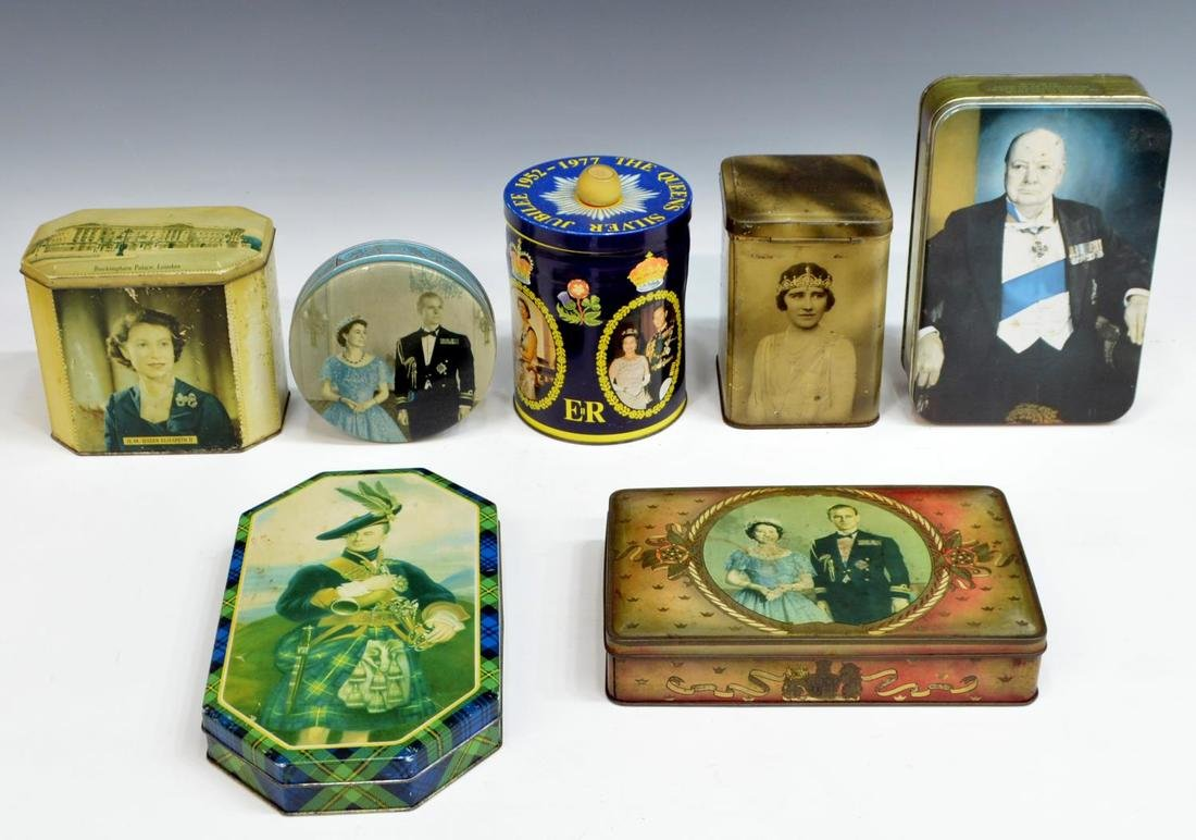 (19) ENGLISH COMMEMORATIVE TINS & SOUVENIRS - 2