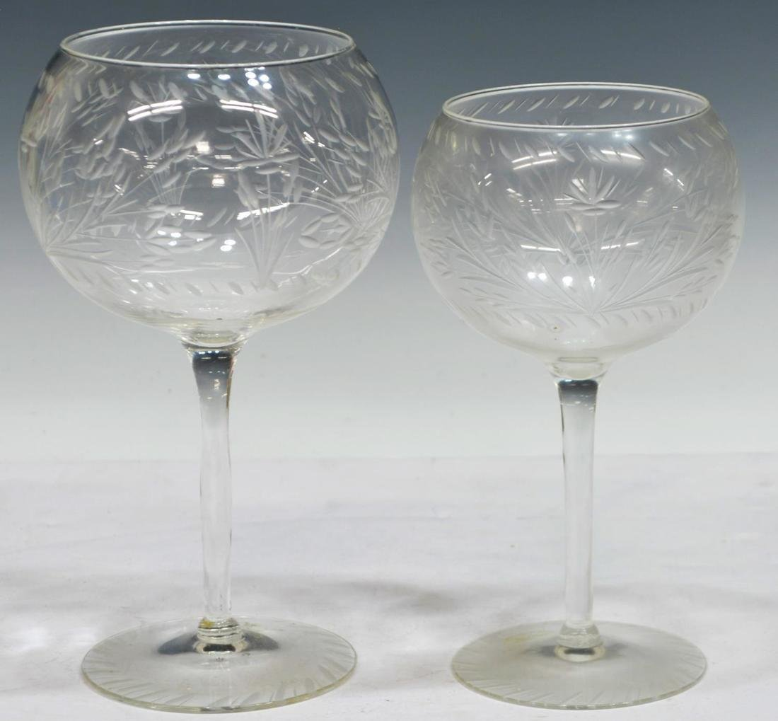 (10) COLLECTION OF ETCHED AND CUT STEMWARE - 2