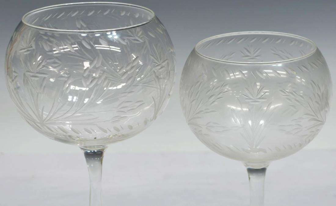 (10) COLLECTION OF ETCHED AND CUT STEMWARE - 3