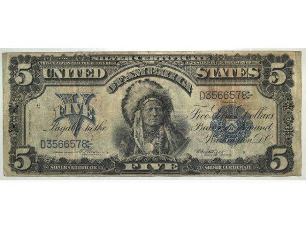 315: U.S. CURRENCY 1899 5 DOLLAR SILVER CERT. CHIEF