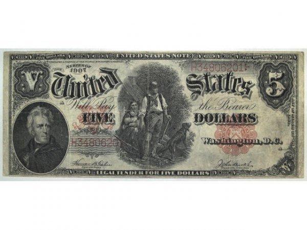316: 1928 U.S. CURRENCY 1907 $5.00 NOTE WOODCHOPPER