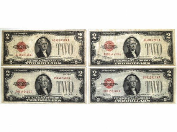 319: U.S. 8 CURRENCY 1928 $2 RED SEAL A,B,C,D,E, F,G