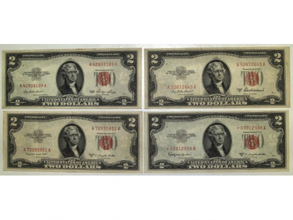 320: U.S. CURRENCY SIX 1953 &63  $2 RED SEAL A,B,C