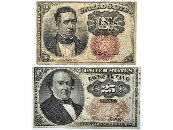 324: THREE U.S. CURRENCY  FRACTIONAL NOTES