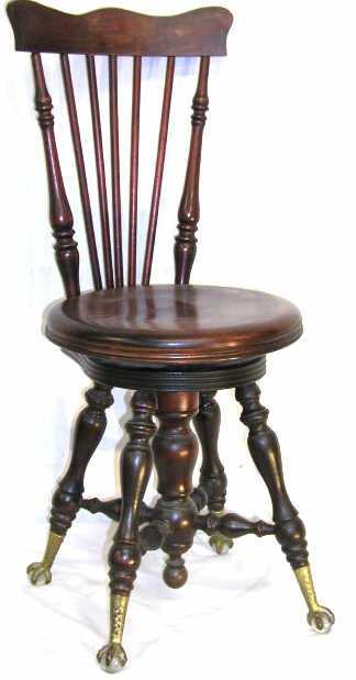 - 346: ANTIQUE CLAW FOOT PIANO STOOL HIGH BACK