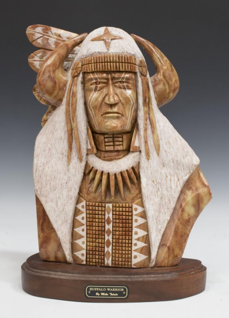 Mike toledo navajo stone sculpture buffalo warrior