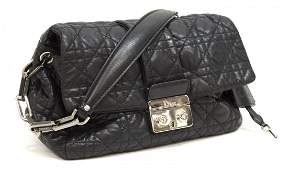 CHRISTIAN DIOR 'CANNAGE' QUILTED BLACK LEATHER BAG
