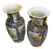 (2) LARGE CHINESE PORCELAIN STANDING FLOOR URNS