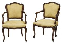 (2) FRENCH LOUIS XV CARVED WALNUT FAUTEUILS 20THC
