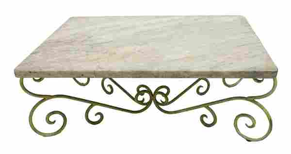 CONTINENTAL MARBLE TOP PAINTED IRON BASE TABLE
