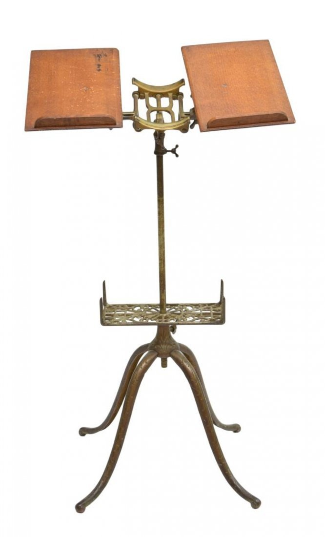 AMERICAN IRON OAK DICTIONARY BOOK STAND, PAT 1895