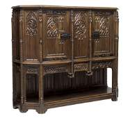 FRENCH GOTHIC REVIVAL CARVED WALNUT CABINET 19THC