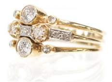 LADIES ESTATE 14K GOLD  DIAMOND TRIPLE BAND RING