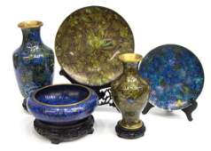 (5) CHINESE FLORAL CLOISONNE ENAMEL CABINET ITEMS
