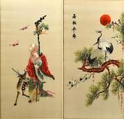 2 CHINESE SILK EMBROIDERIES RUO SONG NIAN SHOU