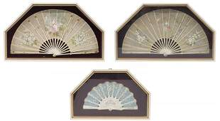 (3) ANTIQUE PAINTED & DECORATED FANS SHADOW BOX