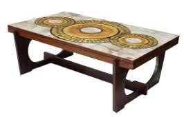 DANISH MID-CENTURY MODERN ROSEWOOD TILE TOP TABLE