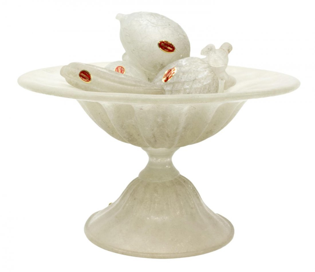 (8) MURANO FIRE FINISHED ART GLASS COMPOTE & FRUIT