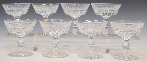 (8)WATERFORD CUT CRYSTAL TRAMORE CHAMPAGNE GOBLETS