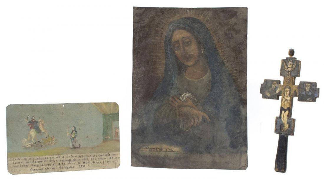 (3) ANTIQUE & VINTAGE MEXICO TIN RETABLOS & CROSS