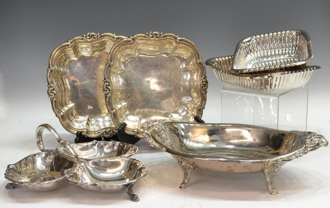 (6) COLLECTION ORNATE SILVER PLATE TABLE ITEMS