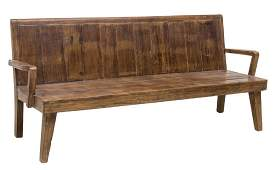 CARVED TEAKWOOD BENCH 19TH C ELEMENTS, INDIA