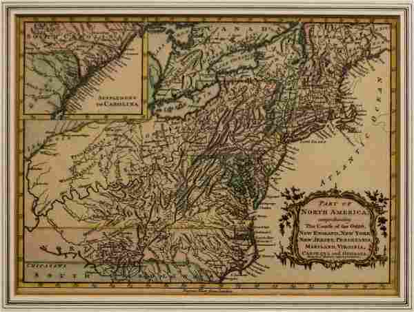 """MAP, C. 1760, """"PART OF NORTH AMERICA"""" VAUGONDY"""