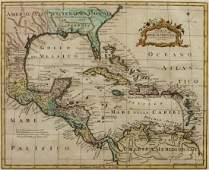 MAP CARRIBEAN  GULF OF MEXICO C 1777 V ROSSI