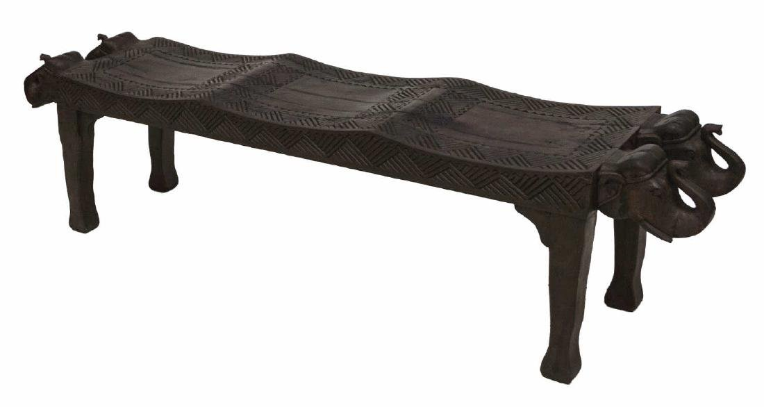 CARVED FIGURAL ELEPHANT BENCH, INDIA