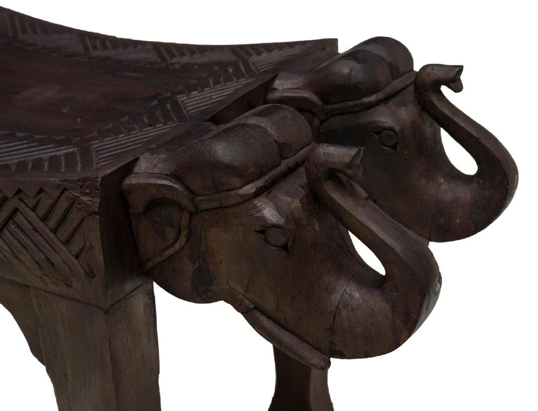 CARVED FIGURAL ELEPHANT BENCH, INDIA - 3