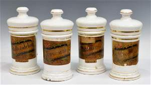 (4) ANTIQUE SPAIN LIDDED PORCELAIN APOTHECARY JARS