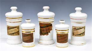 5 ANTIQUE SPAIN LIDDED PORCELAIN APOTHECARY JARS