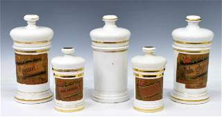(5) ANTIQUE SPAIN LIDDED PORCELAIN APOTHECARY JARS