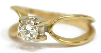 LADIES ESTATE 14KT GOLD DIAMOND SOLITAIRE RING