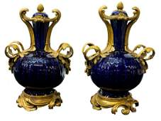 (2) FRENCH BRONZE & PORCELAIN GARNITURE URNS