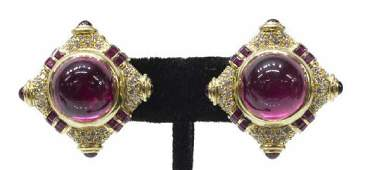 2 ESTATE 18K PINK TOURMALINE  DIAMOND EARRINGS