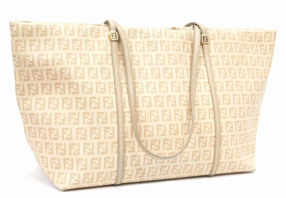 FENDI TAN ON BEIGE MONOGRAM CANVAS TOTE