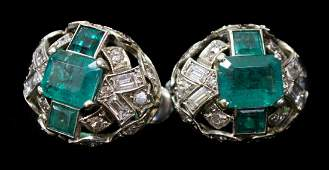 2 LADIES ESTATE 14K GOLD DIAMOND EMERALD EARRINGS