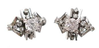 2) LADIES ESTATE 14K WHITE GOLD & DIAMOND EARRINGS