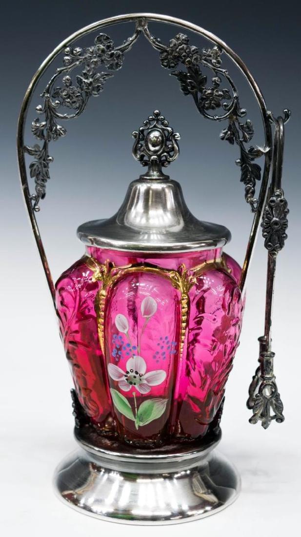 VICTORIAN ART GLASS SILVERPLATE PICKLE CASTOR