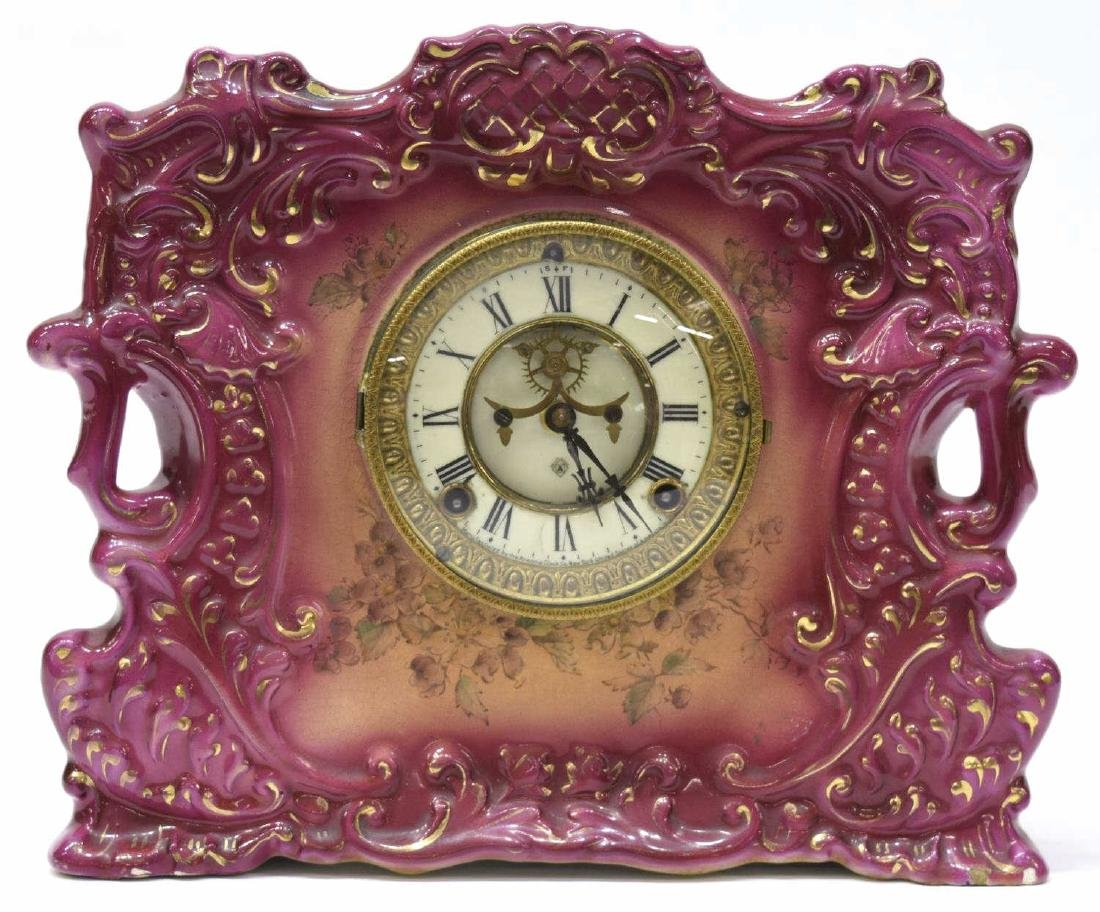 ANSONIA ROYAL BONN PORCELAIN CASE CLOCK, OPERATING