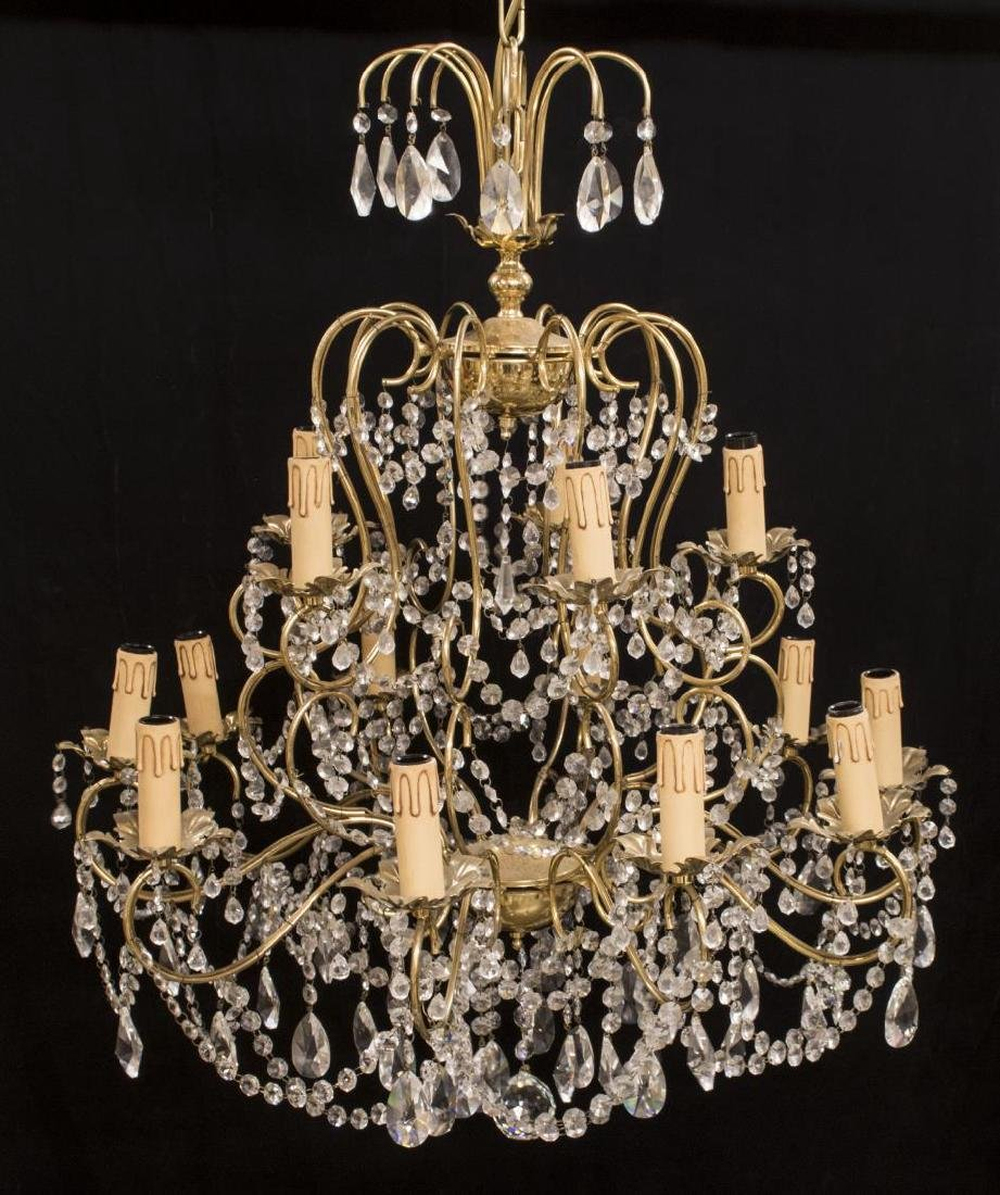 ITALIAN GILT METAL & GLASS 15-LIGHT CHANDELIER