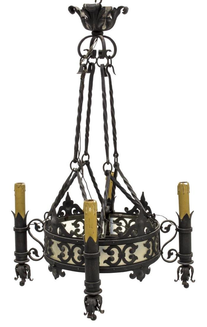 ITALIAN PIERCED WROUGHT IRON 8-LIGHT CHANDELIER