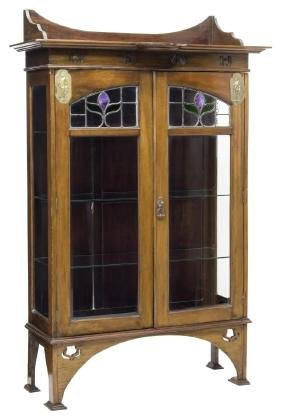 ENGLISH ARTS & CRAFTS STAINED GLASS BOOKCASE