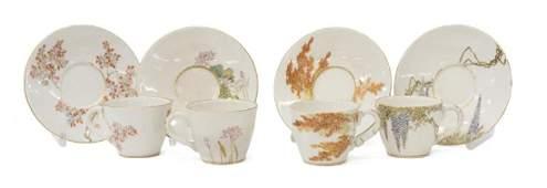 (8) JAPANESE SATSUMA TEA CUPS/ SAUCERS YABU MEIZEN