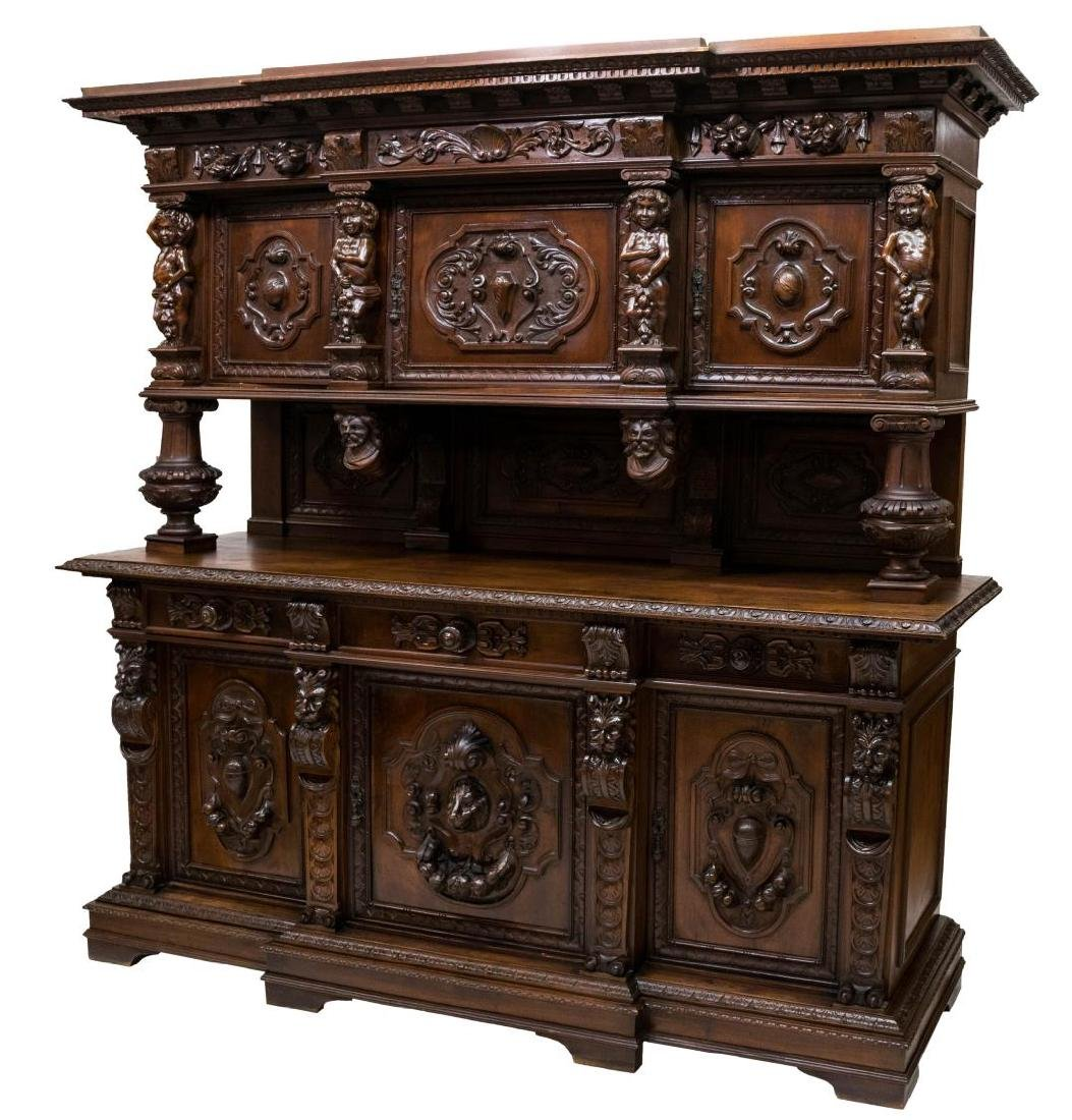 VERY FINE RENAISSANE REVIVAL CARVED SIDEBOARD