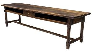 LARGE FRENCH CARVED WALNUT CONVENT REFECTORY TABLE