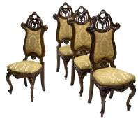 (4) FRENCH NANCY SCHOOL CARVED WALNUT PARLOR CHAIRS